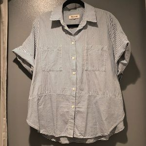 Madewell Courier Shirt Mixed Blue & White Shirt XL